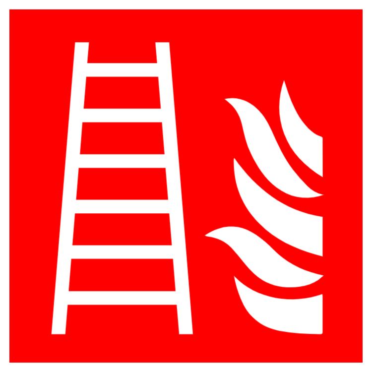 Fire ladder symbol and text safety sign