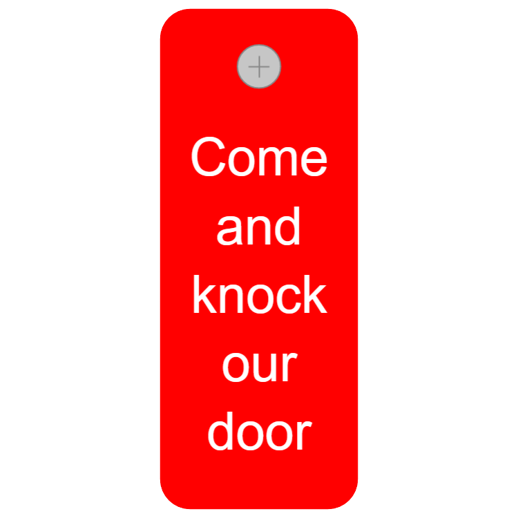 Door key tag - come and knock our door