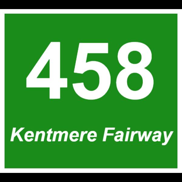 Green door number sign