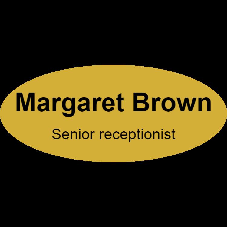 Senior receptionist name tag