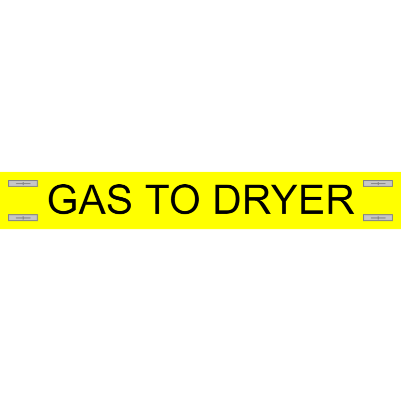 Gas to dryer - gas pipe marking