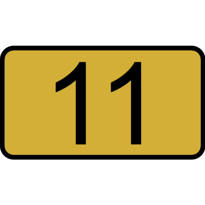 Door number plaque - gold color plastic