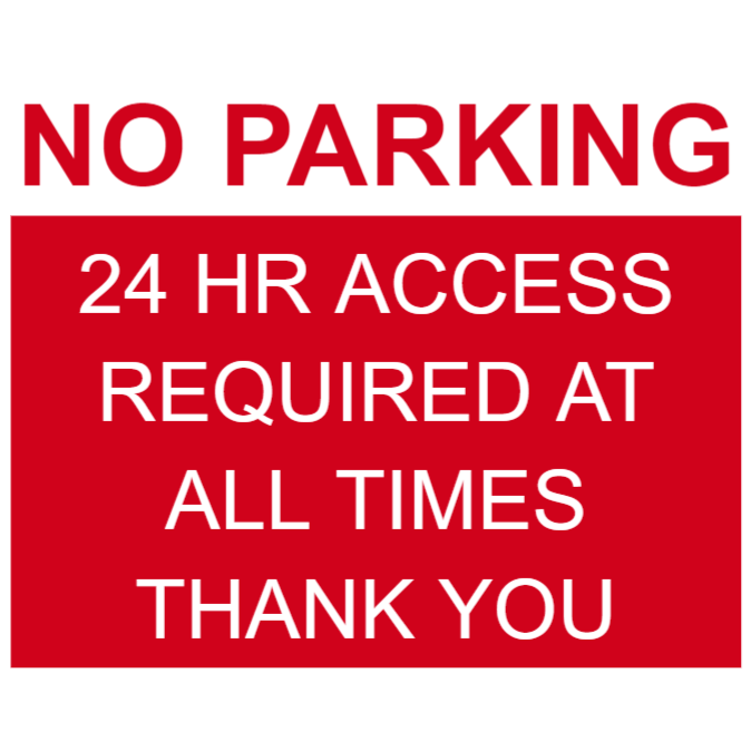No parking sign in red with explanation