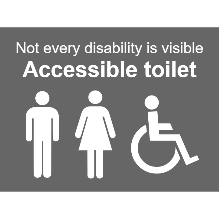 Grey accessible toilets sign - men, women, disabled