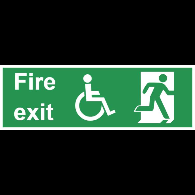 Nödutgång tecken - med tillgång för funktionshindrade