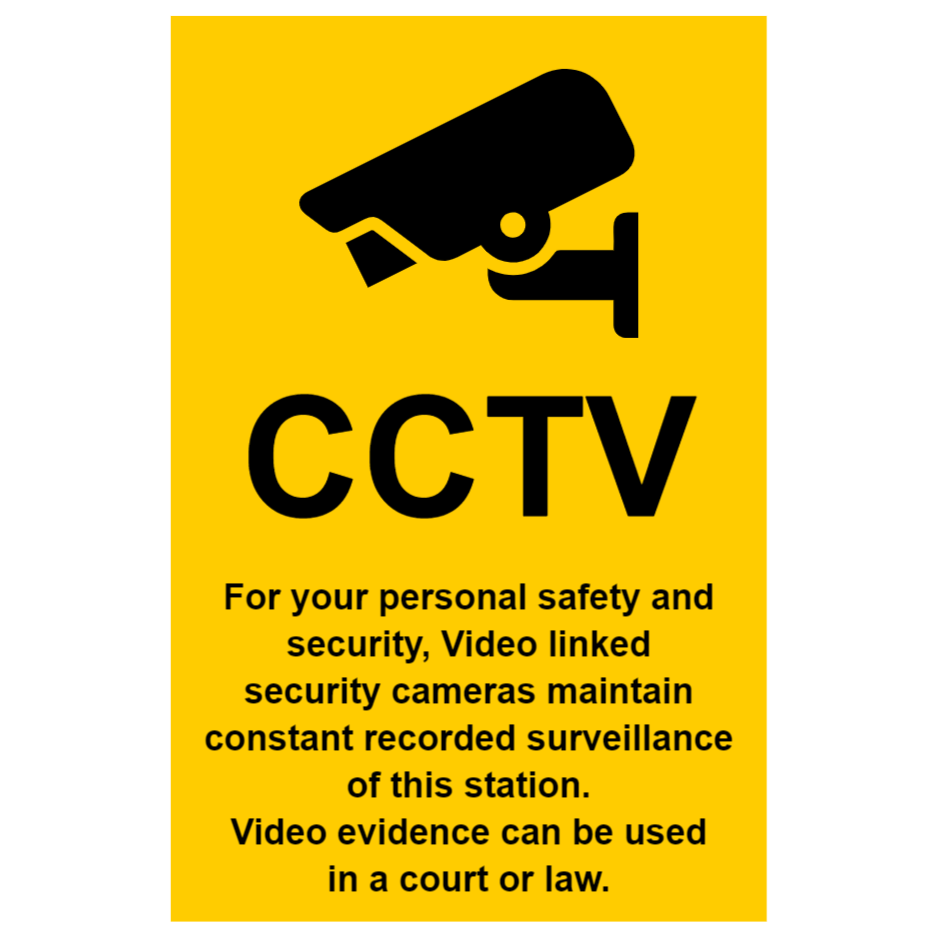CCTV sign with text