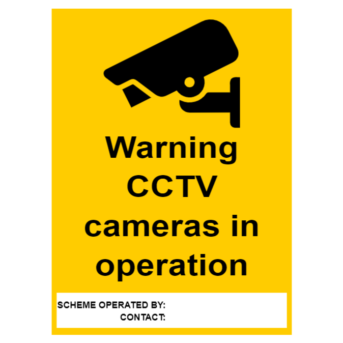 CCTV sign with empty text box