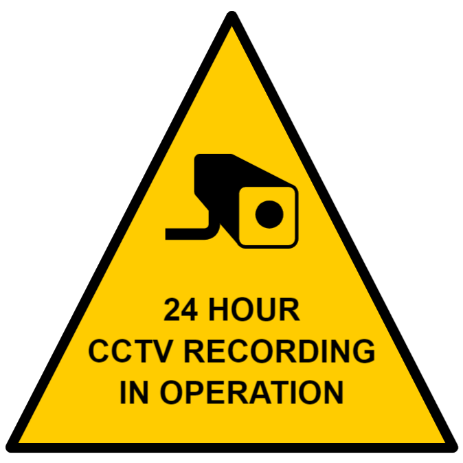 CCTV sign 24 hours recording - triangle