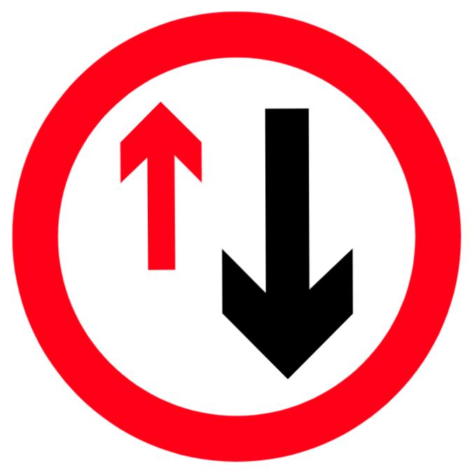 prioritet måste vara att fordon som kommer från motsatt riktning tecken ges