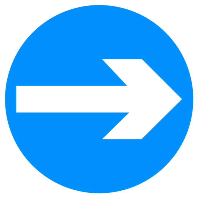 Vehicular traffic must proceed in the direction indicated by the arrow (right) sign