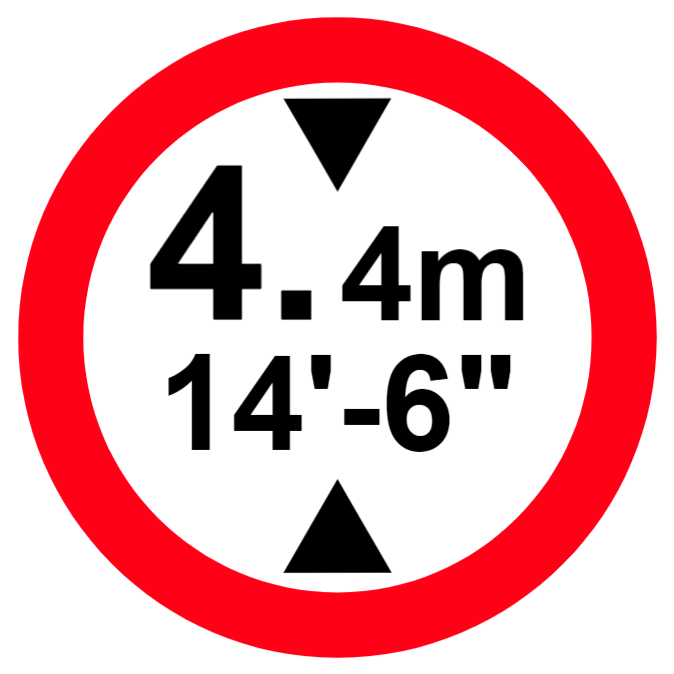 Vehicles exceeding height indicated are prohibited. Height is displayed in both metric and imperial units sign