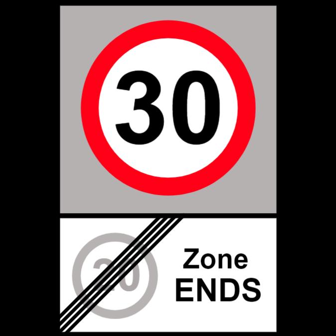 Slut på 20 miles per timme zon och start av 30 miles per timme zon tecken