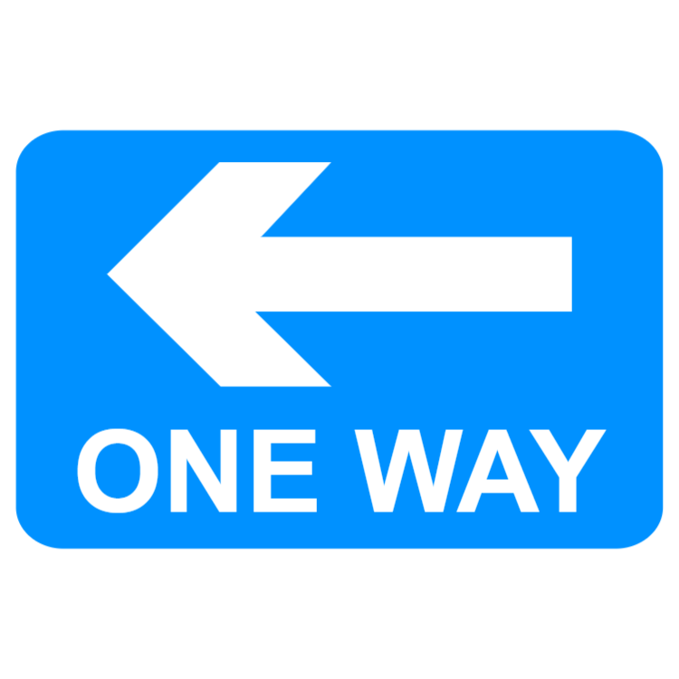 One-way traffic in direction indicated (left) sign