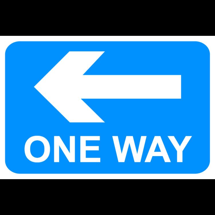 Enkelriktad trafik i den riktning som visas (vänster) mark