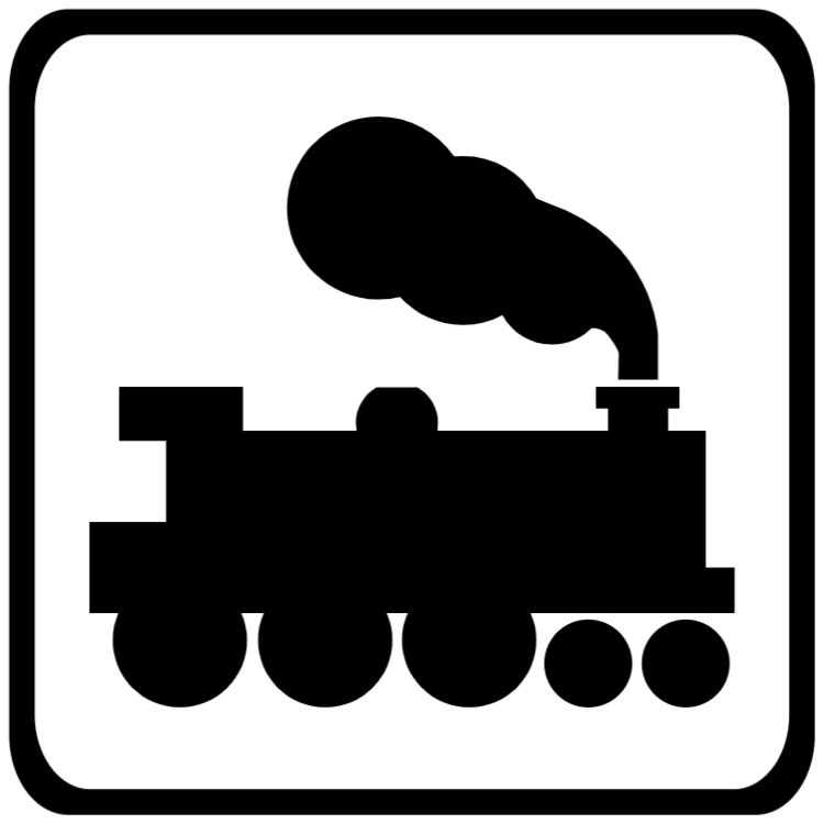 Open railway level crossing without light signals sign