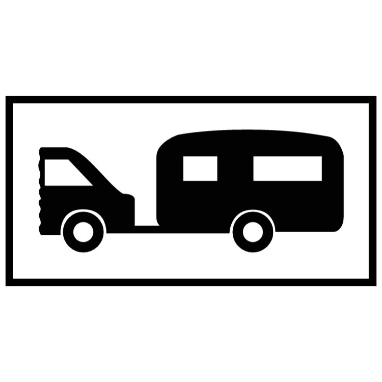 Parking for motorised caravans or caravans drawn by motor vehicles sign