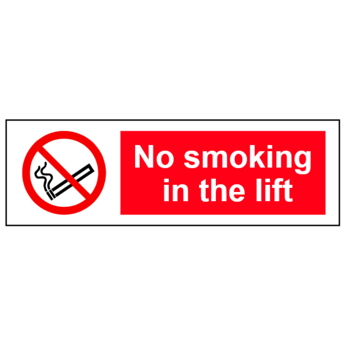 No smoking in the lift sign
