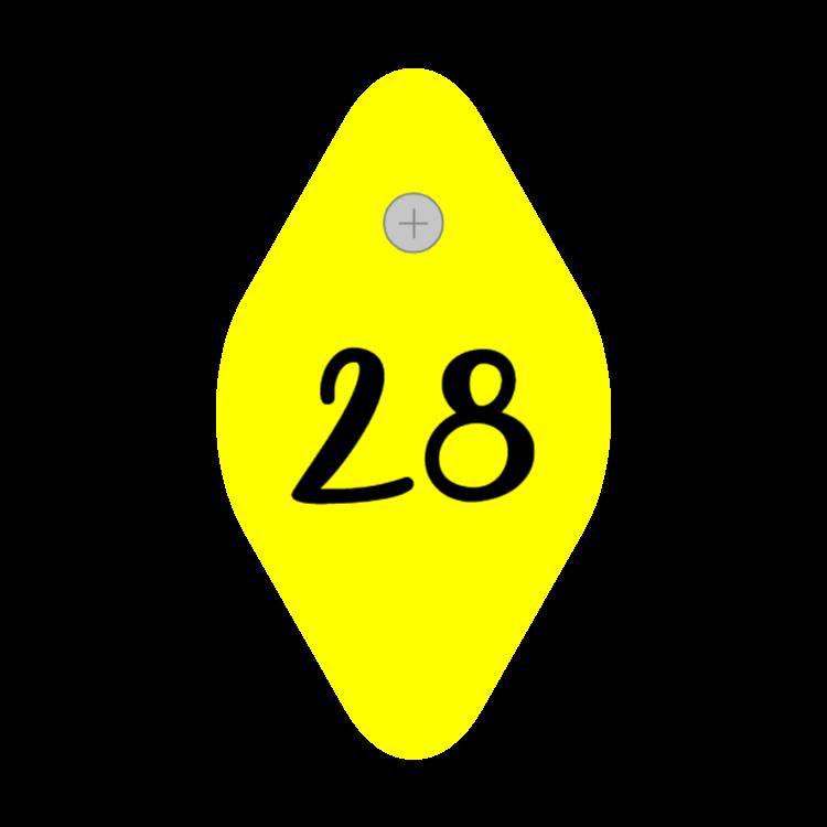 Yellow room key tag