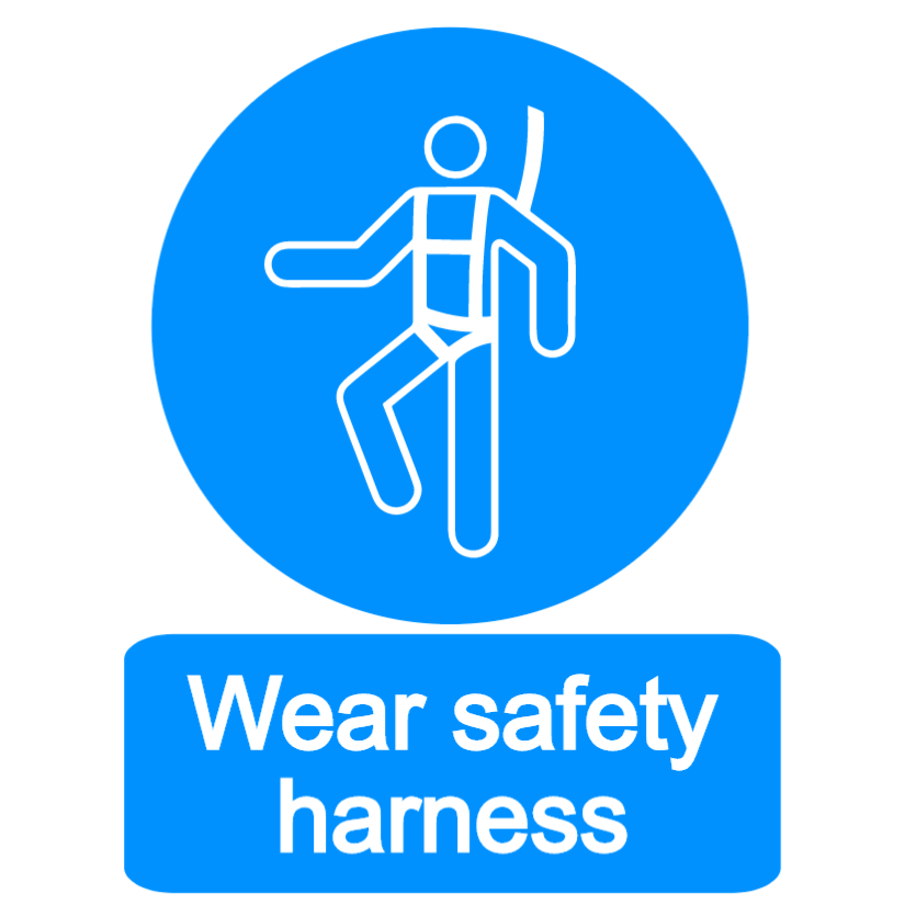 Wear safety harness sign
