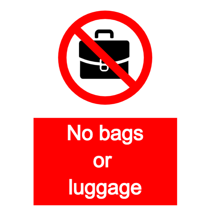 No bags or luggage sign