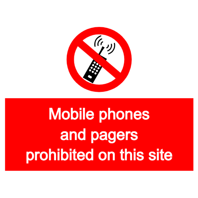 Mobile phones and pagers are prohibited sign