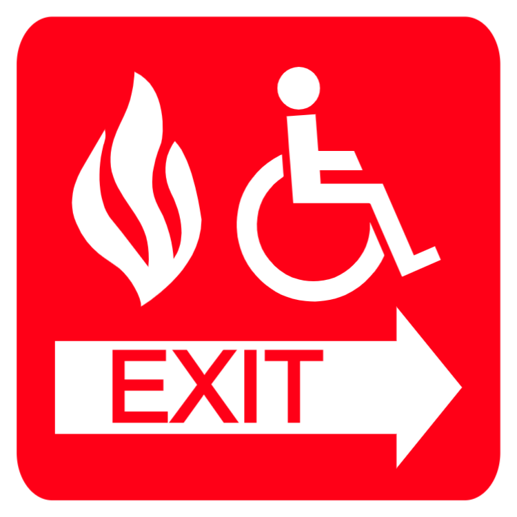 Fire Safety Exit - Disabled sign