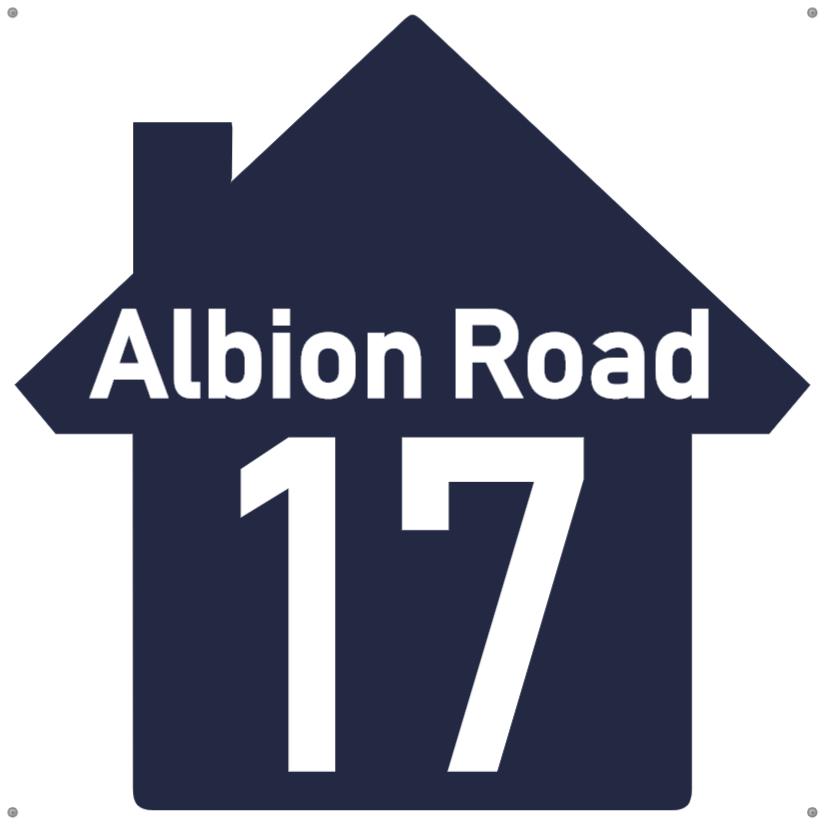Navy blue house number sign
