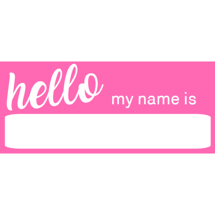 Pink name badge