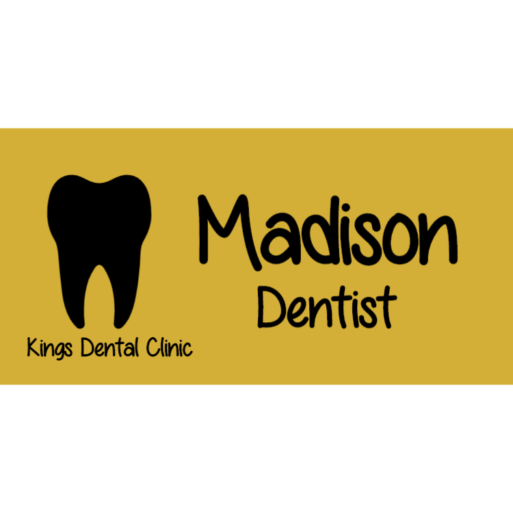 Gold name badge for dentist
