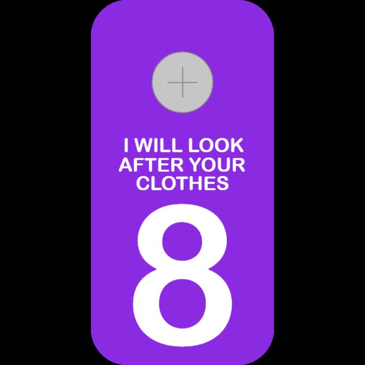 Violet cloakroom tag