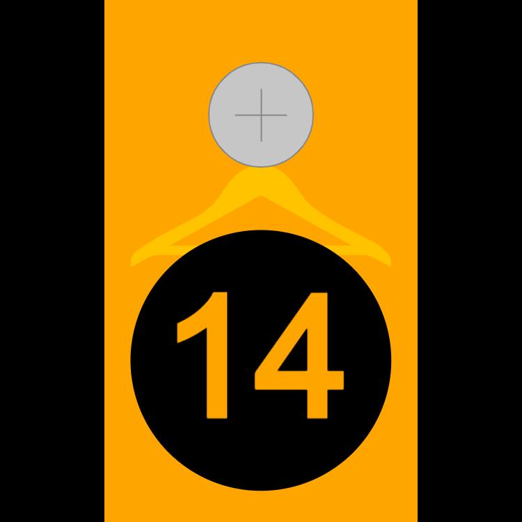 Orange cloakroom tag