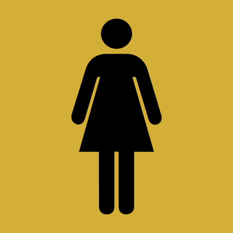 Gold toilet sign - women