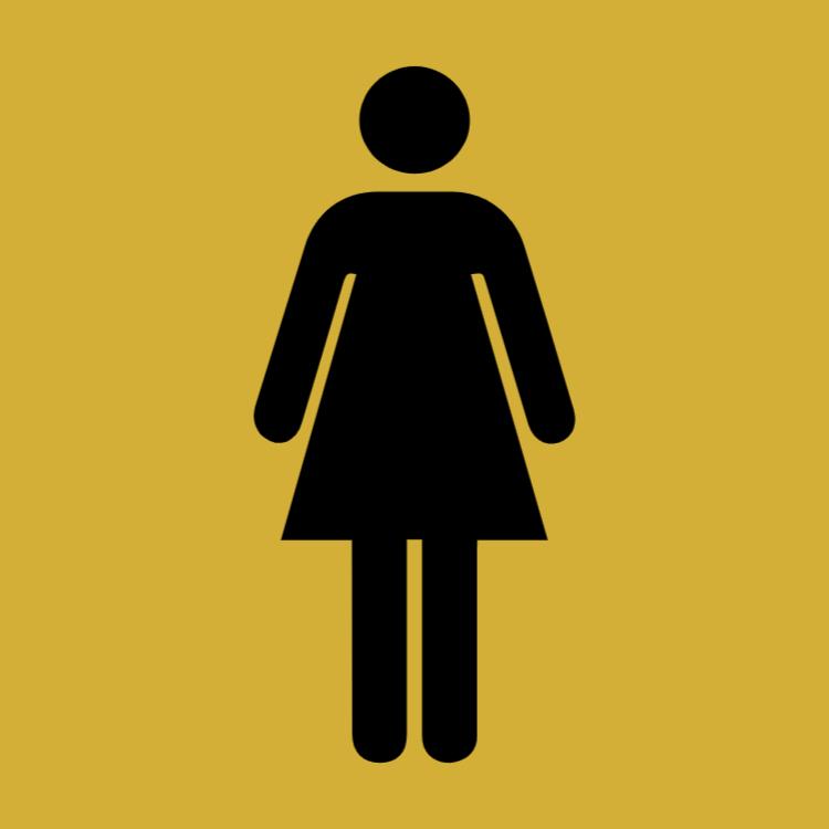 Guld toalett sign - kvinnor