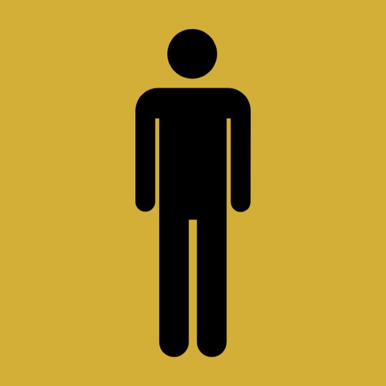 Guld toalett sign - män