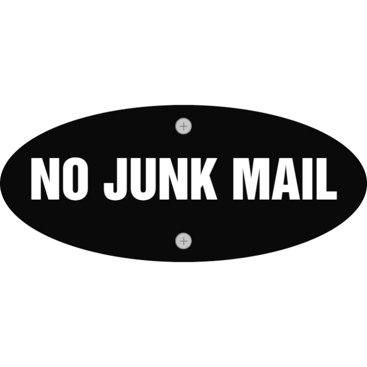 Black no junk mail sign
