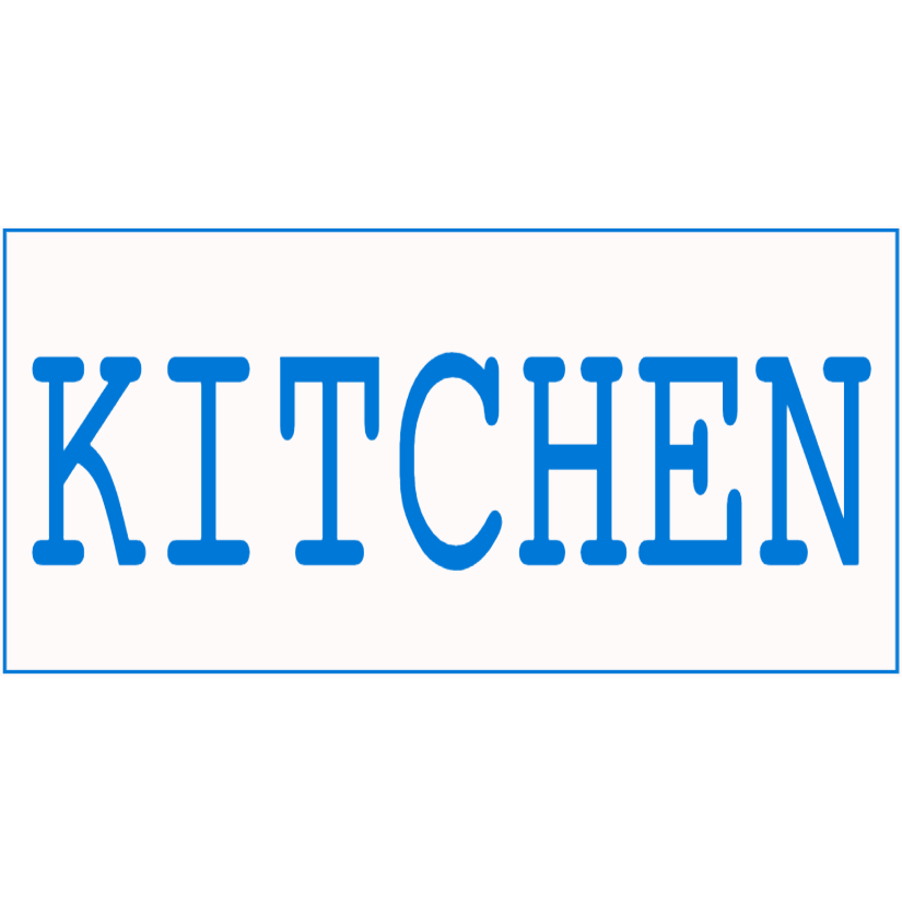 White and blue kitchen sign