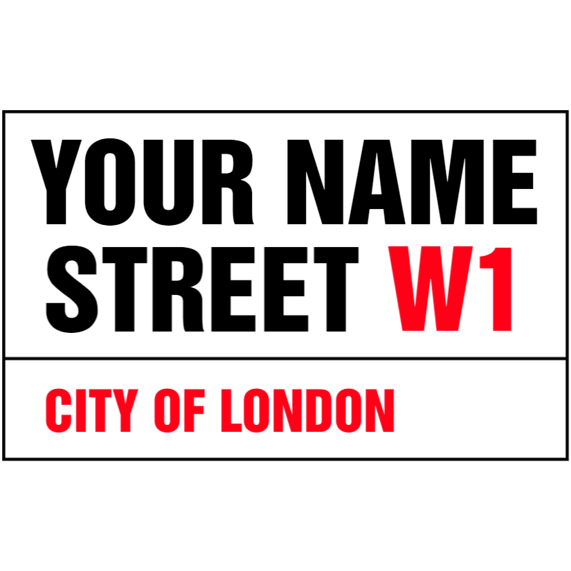 White custom street name sign