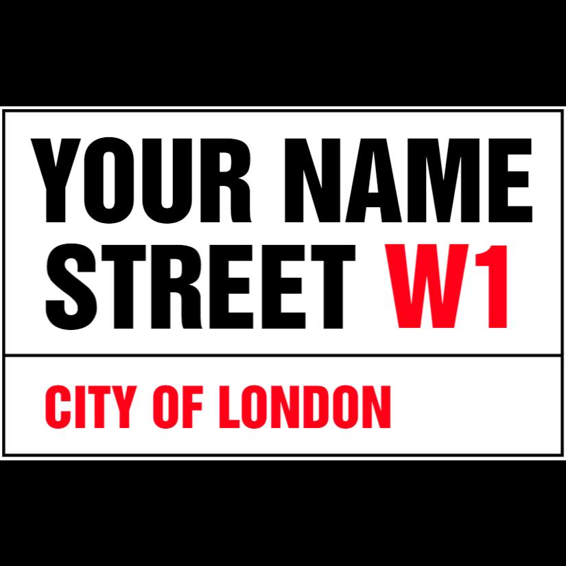 White custom street name sign