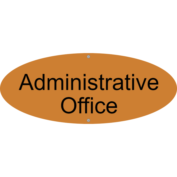Matte gold administrative office sign