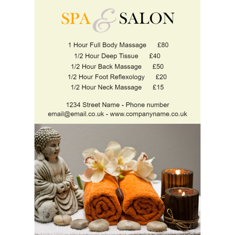 Spa and salon service sign