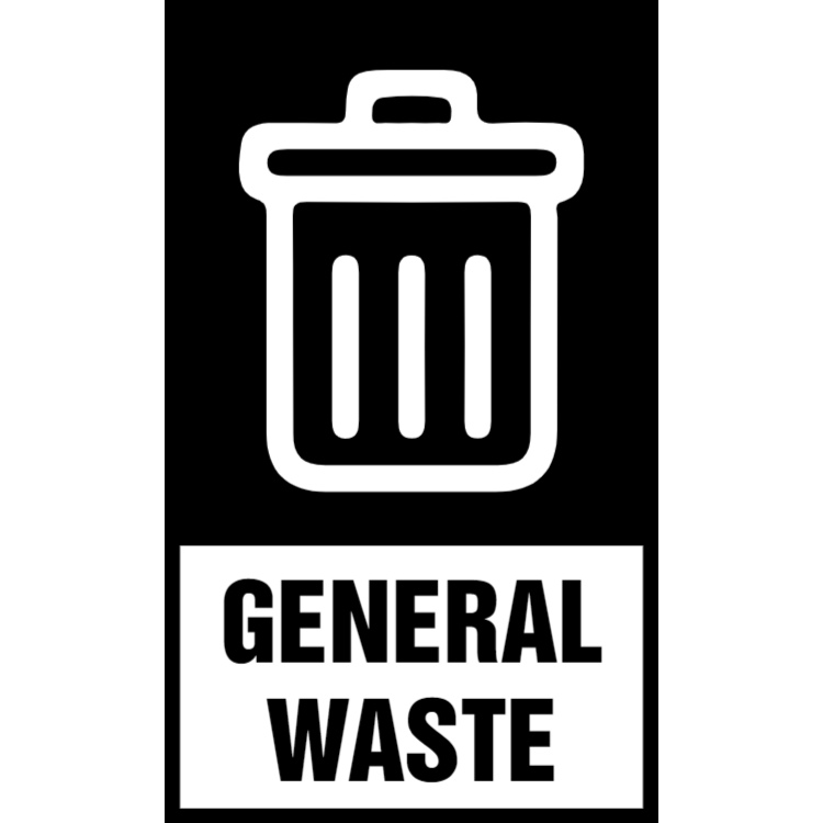 Black general waste sticker