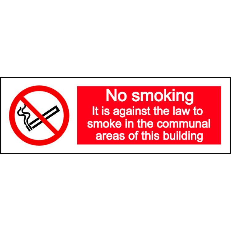 No smoking in communal area - landscape sign