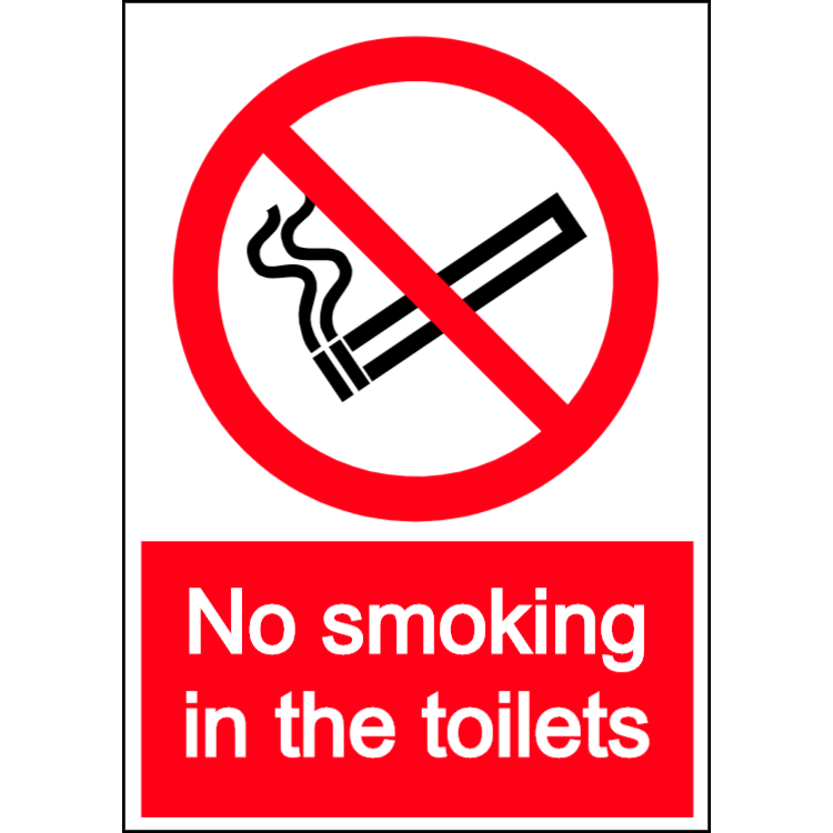 No smoking in the toilets - portrait sign