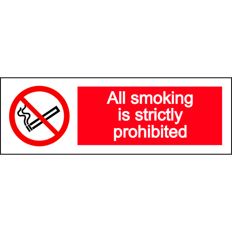 All smoking is strictly prohibited - landscape sign