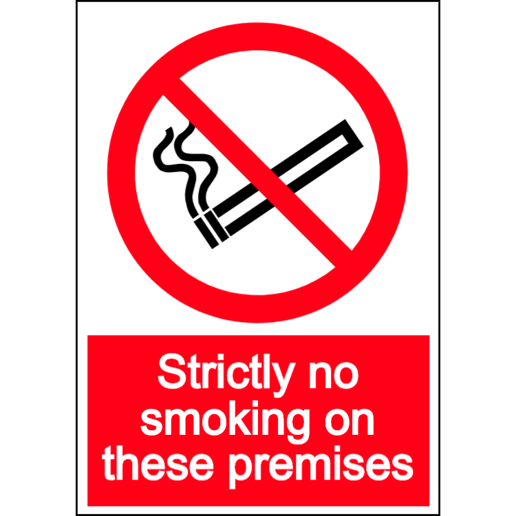 Strictly no smoking on these premises - portrait sign