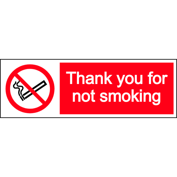 Thank you for not smoking - landscape sign