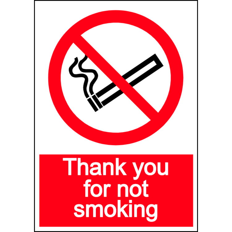 Thank you for not smoking - portrait sign