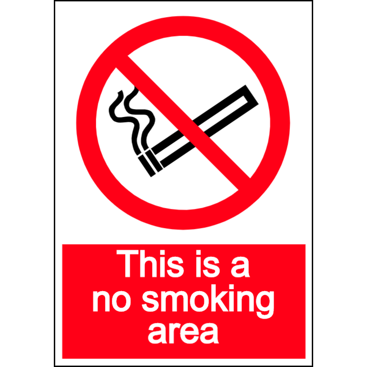 This is a no smoking area - portrait sign