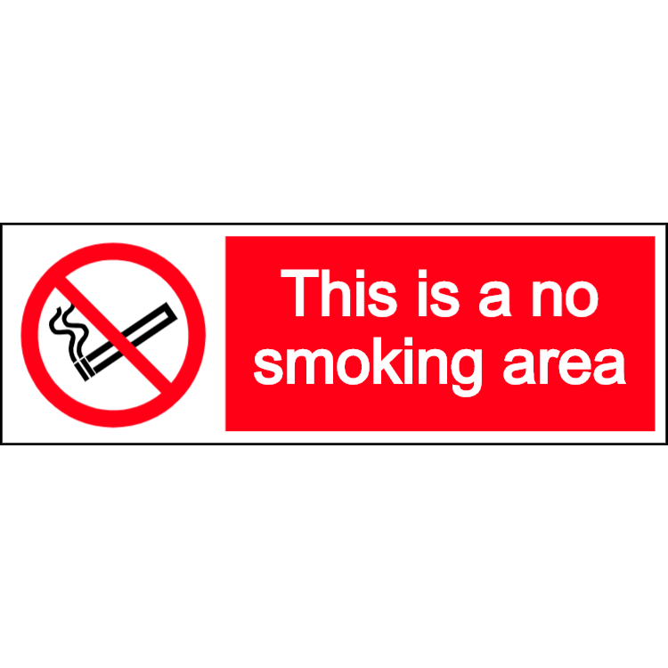 This is a no smoking area - landscape sign