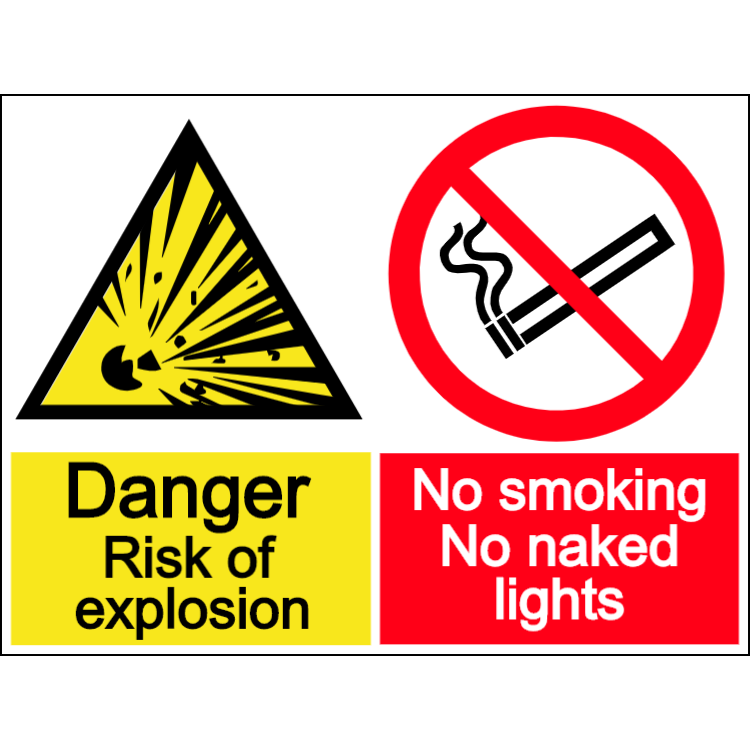 No smoking - risk of explosion - landscape sign